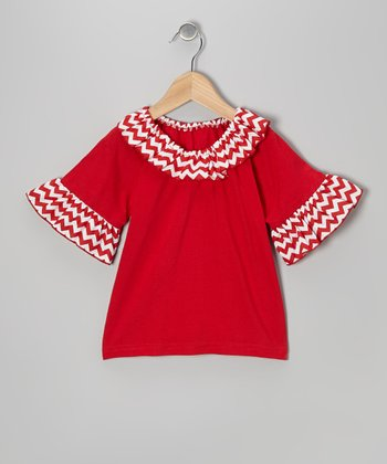 Red Winter Snowman Ruffle Top - Toddler & Girls