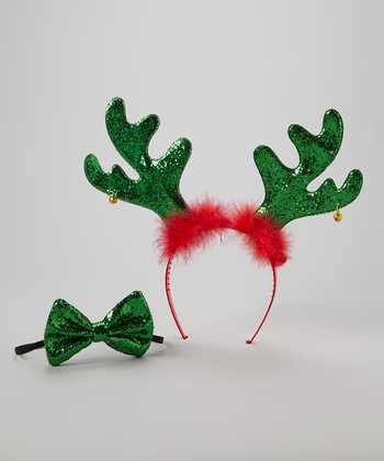Red & Green Reindeer Headband & Bow Tie