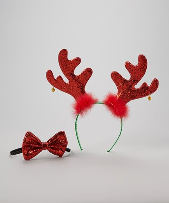 Red Reindeer Headband & Bow Tie