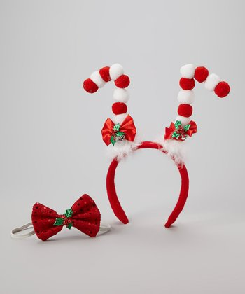 Red Candy Cane Reindeer Headband & Bow Tie