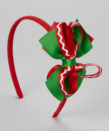 Red & Green Stripe Bow Headband