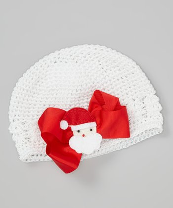 White Santa Bow Crocheted Beanie