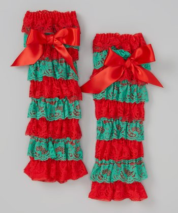 Red & Green Lace Leg Warmers