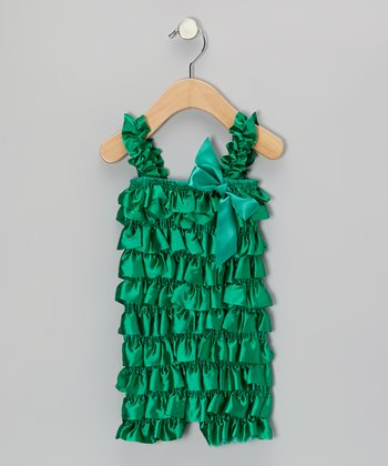 Green Satin Ruffle Romper - Infant & Toddler