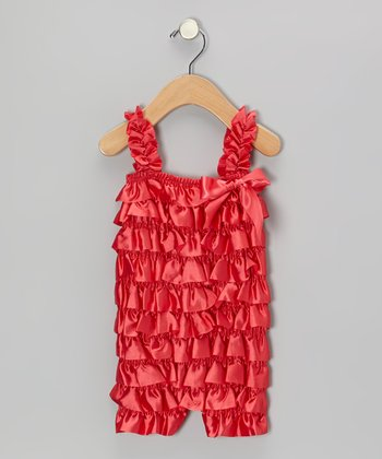 Red Satin Ruffle Romper - Infant & Toddler