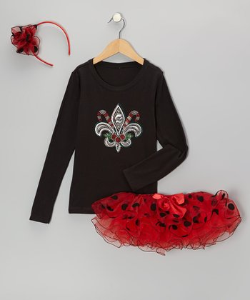 Black Fleur-de-Lis Tee Set - Infant, Toddler & Girls