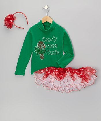Green 'Candy Cane Cutie' Turtleneck Set - Toddler & Girls