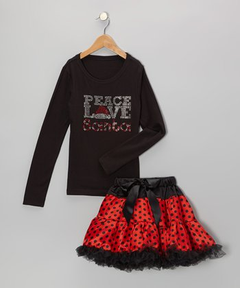 Black 'Peace' Tee & Red Pettiskirt - Infant, Toddler & Girls