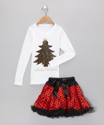 White Christmas Tree Tee & Red Pettiskirt - Toddler & Girls