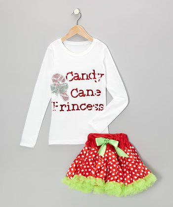 White & Red 'Princess' Tee & Pettiskirt - Infant, Toddler & Girls