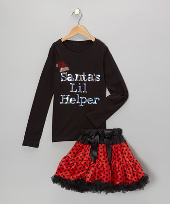 Black Santa Tee & Red Pettiskirt - Infant, Toddler & Girls