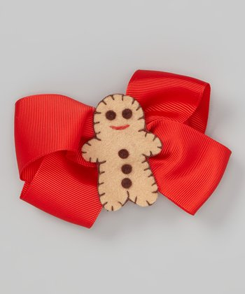 Red Gingerbread Bow Clip