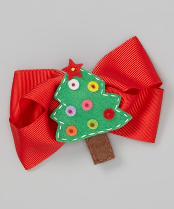 Red Christmas Tree Bow Clip