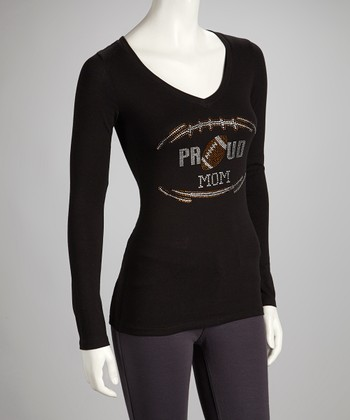 Black 'Proud Football Mom' V-Neck Tee - Women & Plus