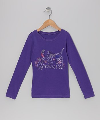 Purple 'Gymnastics' Tee - Girls
