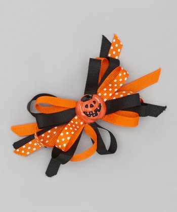 Orange Polka Dot Pumpkin Clip