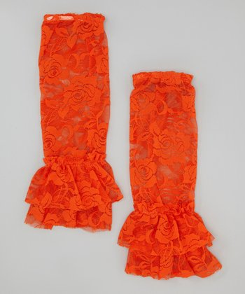 Orange Lace Ruffle Leg Warmers