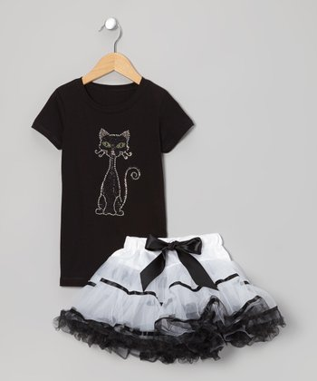 Black Cat Tee & White Pettiskirt - Infant, Toddler & Girls