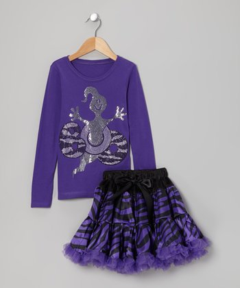 Purple 'Boo' Ghost Tee & Zebra Pettiskirt - Toddler & Girls