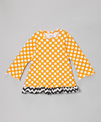 Mango Punch Polka Dot Ruffle Tunic - Toddler & Girls
