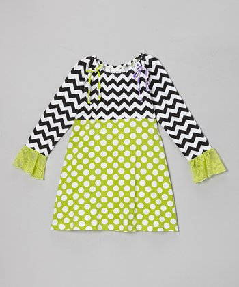 Kiwi Punch Polka Dot Peasant Dress - Infant, Toddler & Girls