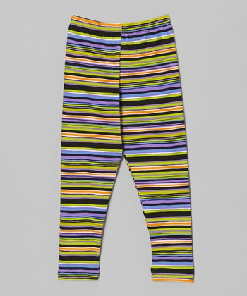 Black Wizard Stripe Leggings - Infant, Toddler & Girls