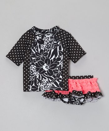 Black & White Rashguard Set - Toddler & Girls