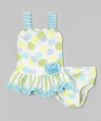 Green & Blue Polka Dot Ruffle Tankini - Infant, Toddler & Girls