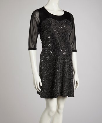 Silver Sequin Maternity Three-Quarter Sleeve Dress