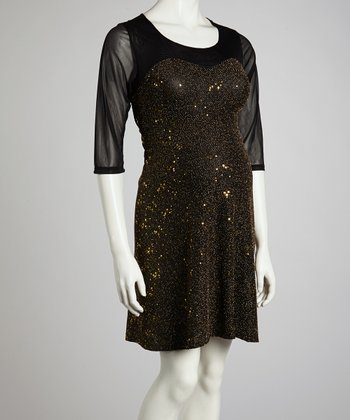 Gold Sequin Maternity Three-Quarter Sleeve Dress