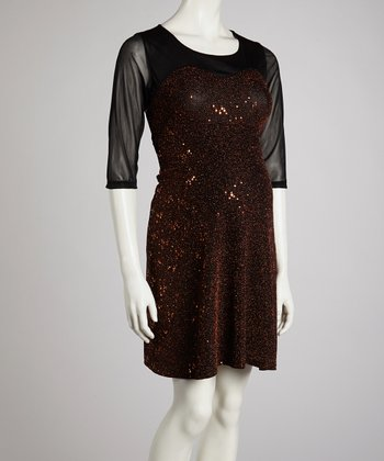 QT Red Sequin Maternity Three-Quarter Sleeve Dress