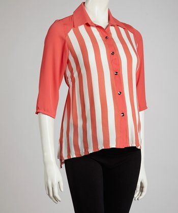 Coral Stripe Maternity Button-Up