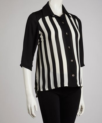 Black Stripe Maternity Button-Up