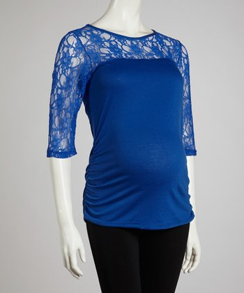 Blue Lace Maternity Long-Sleeve Top - Women