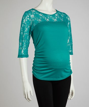 Jade Lace Maternity Long-Sleeve Top