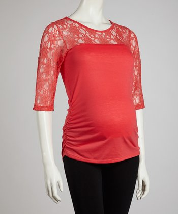 QT Coral Lace Maternity Three-Quarter Sleeve Top - Women