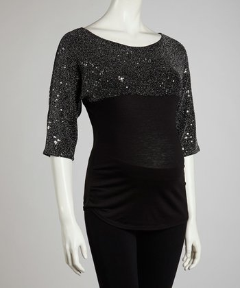 Silver Sequin Maternity Three-Quarter Sleeve Top