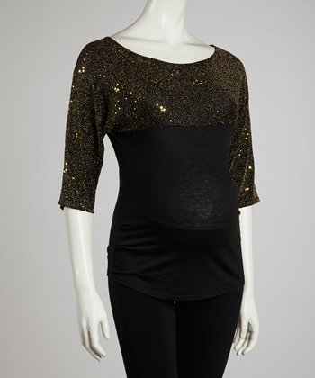 Gold Sequin Maternity Three-Quarter Sleeve Top