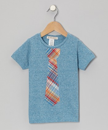 Aqua & Orange Plaid Tie Tee - Toddler & Boys
