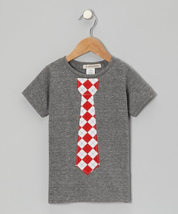 Heather Gray & Red Argyle Tie Tee - Toddler & Boys