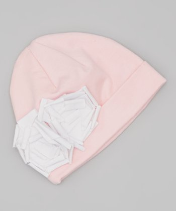 Light Pink & White Floral Beanie