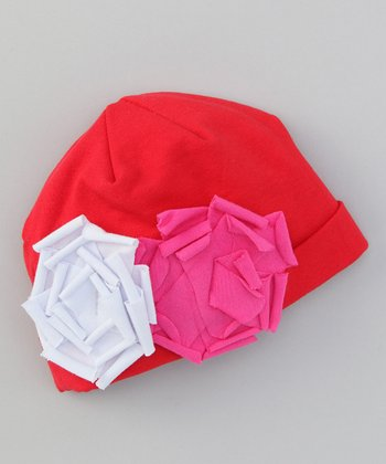 Red & Hot Pink Flower Beanie