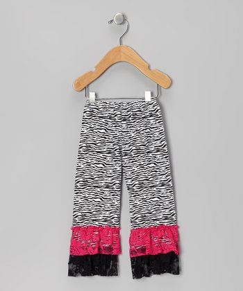 Hot Pink Zebra Ruffle Leggings - Infant, Toddler & Girls