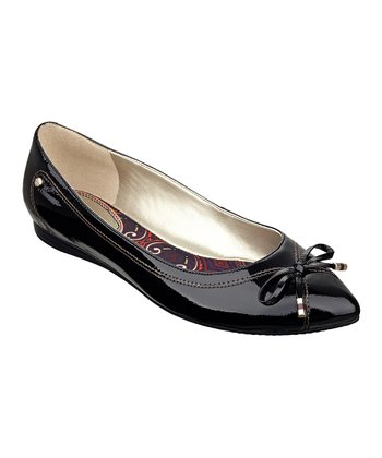 Black Leather Nanette Flat