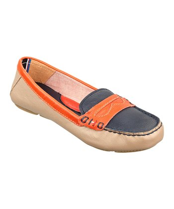 Orange & Navy Leather Eden Loafer