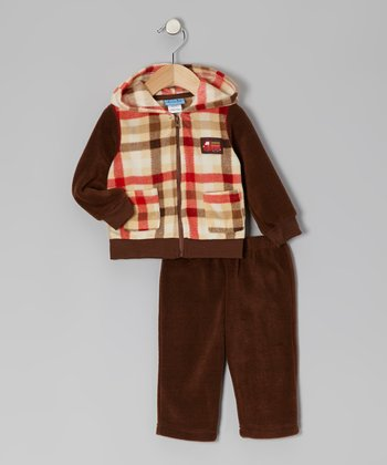 Brown Plaid Fleece Jacket & Pants - Infant