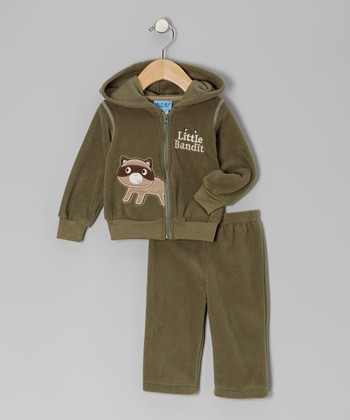 Green 'Little Bandit' Fleece Jacket & Pants - Infant