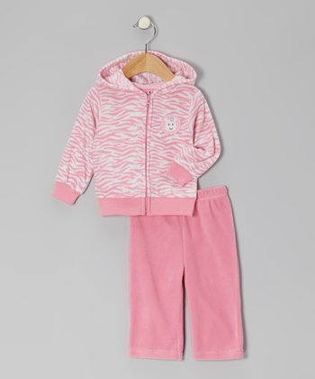 Pink Zebra Fleece Jacket & Pants - Infant