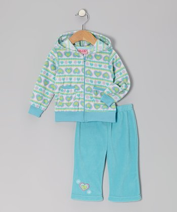 Teal Hearts Fleece Jacket & Pants - Infant