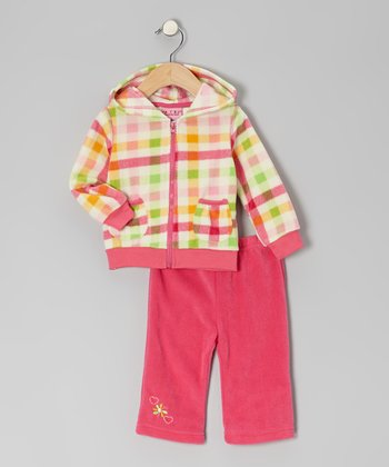Hot Pink Plaid Fleece Jacket & Pants - Infant
